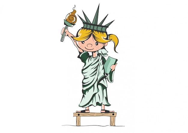 Fille de la statue de la liberté. Vecteur Premium