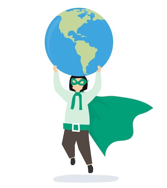 Fille super-héros sauver le monde Vecteur gratuit