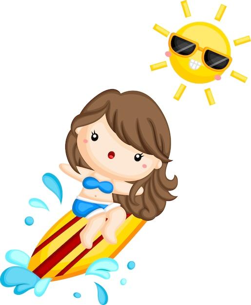 Une fille surfer sur la vague par une journée ensoleillée Vecteur Premium