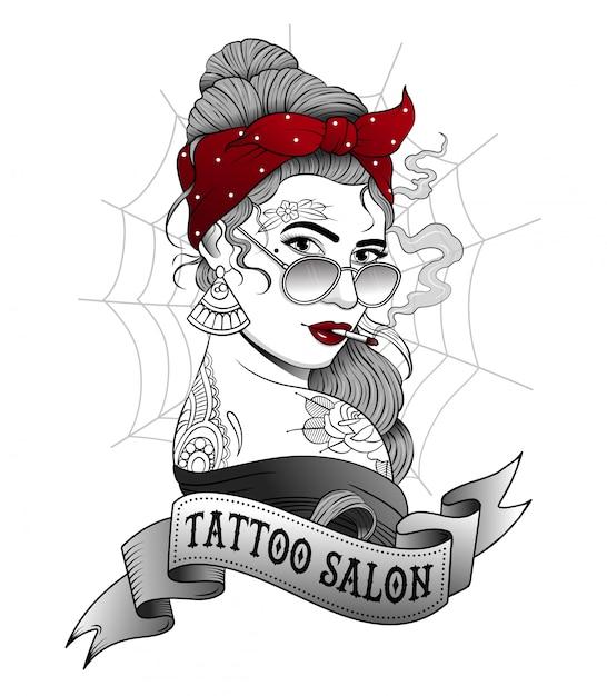 Fille tatouée fume une cigarette Vecteur Premium