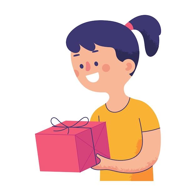 Fille tenant joyeusement un gros cadeau à la main Vecteur Premium