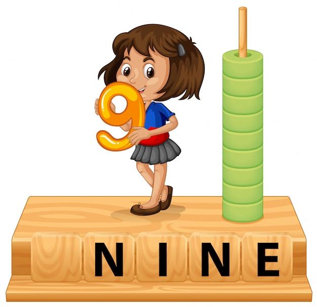 Une fille tenant le numéro neuf Vecteur gratuit