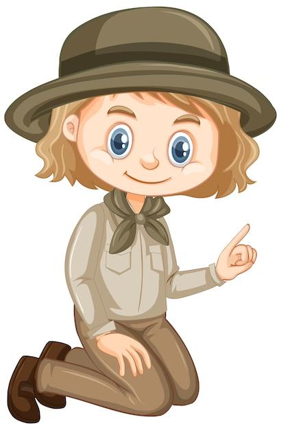 Fille En Tenue De Safari Assis Sur Fond Blanc Vecteur gratuit