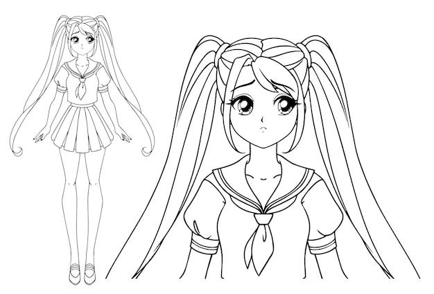 Fille Triste Manga Avec Et Deux Tresses Portant L'uniforme Scolaire Japonais Vecteur Premium