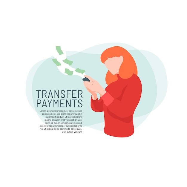 Fille en utilisant la boutique en ligne de paiement par transfert Vecteur Premium