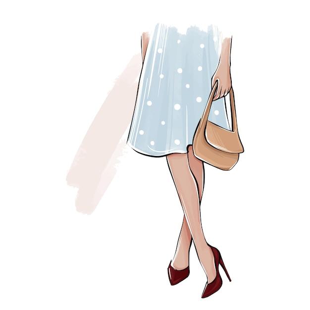 Fille De Vecteur En Talons Hauts, Robe Avec Sac. Illustration De Mode Jambes Féminines Dans Les Chaussures. Conception Girly Mignonne. Tenue élégante. Vecteur Premium