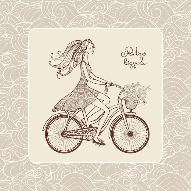 Fille à vélo Vecteur gratuit