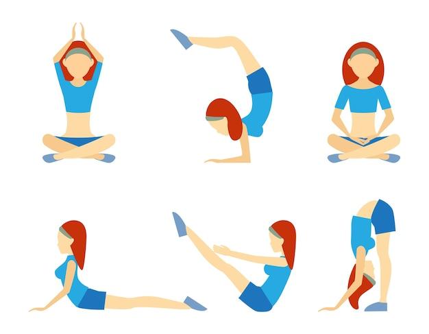 Fille De Yoga En Six Positions, Y Compris L'équilibre Des Pompes De Méditation Lotus Sur Le Poirier Et La Flexion Pour La Souplesse, La Santé, Le Bien-être Et La Remise En Forme, Les Icônes Vectorielles Sur Blanc Vecteur gratuit