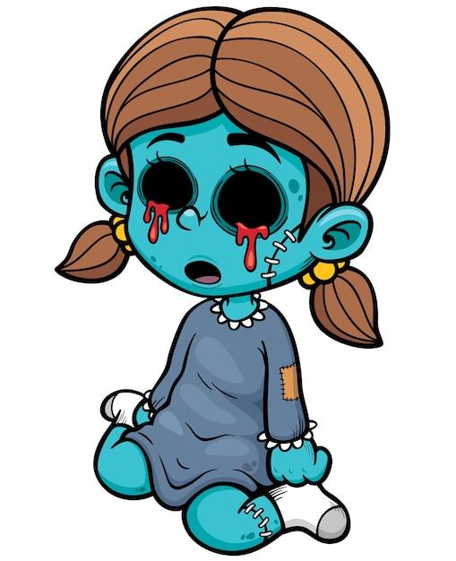 Fille Zombie De Dessin Animé Télécharger Des Vecteurs Premium