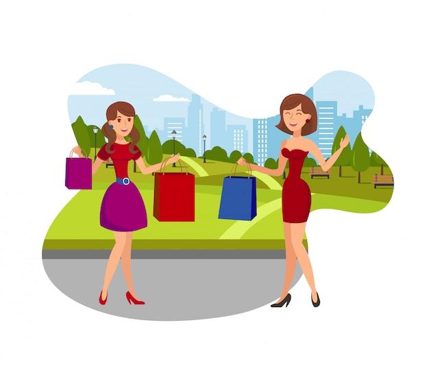 Les filles aiment faire du shopping illustration vectorielle plane Vecteur Premium
