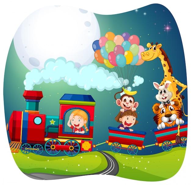Filles et animaux dans le train Vecteur Premium