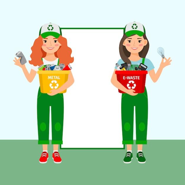 Les filles apprennent à recycler les ordures Vecteur Premium