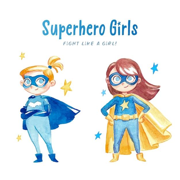 Filles d'aquarelle super-héros Vecteur gratuit
