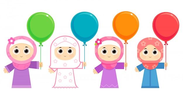 Filles arabes célébrant l'aïd, portant le hijab et portant des ballons colorés Vecteur Premium