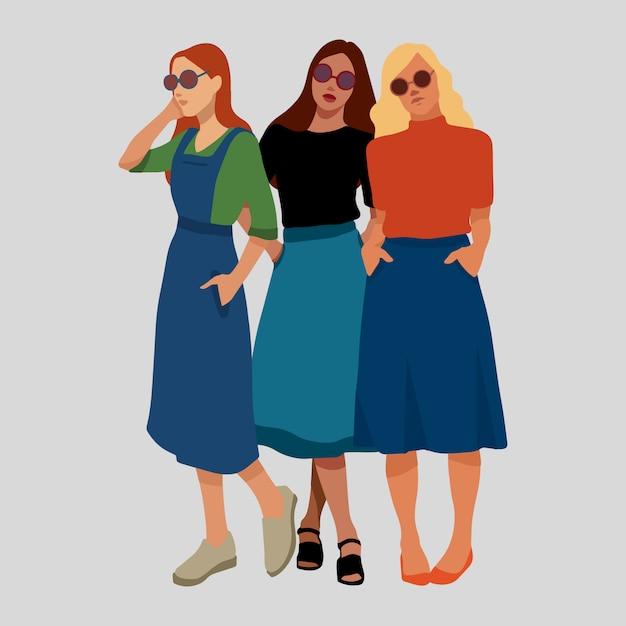 Filles féminisme filles pouvoir vector illustration Vecteur Premium