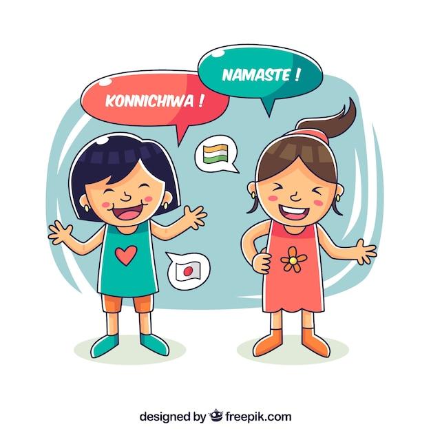 Filles heureuse dessiné main parlant différentes langues Vecteur gratuit