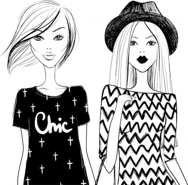 Filles mignonnes de la mode. femme élégante. filles de vecteur. jeune fille. modèles à la mode. Vecteur Premium