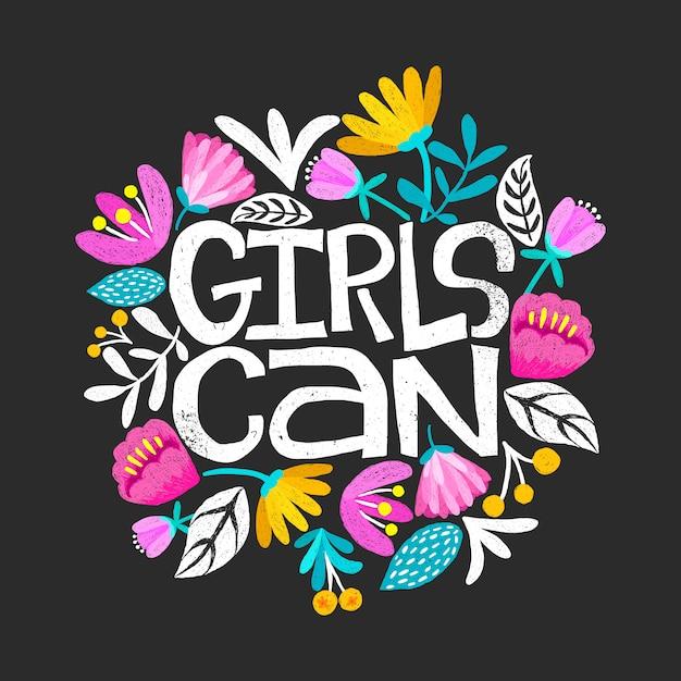 Les filles peuvent carte Vecteur Premium