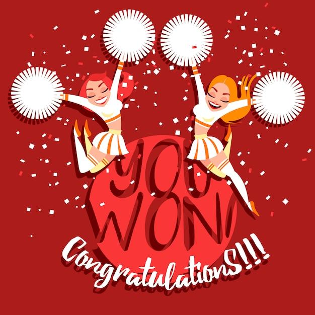 Les filles de pom-pom girl à pompons félicitent pour la victoire. félicitations, vous avez gagné! Vecteur Premium
