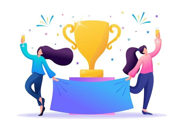 Les filles qui réussissent célèbrent la victoire, les gagnants célèbrent avec du champagne. Vecteur Premium