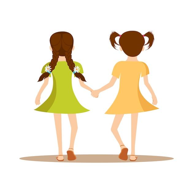 Filles, tenue, dos, vue, heureux, jour amitié Vecteur Premium
