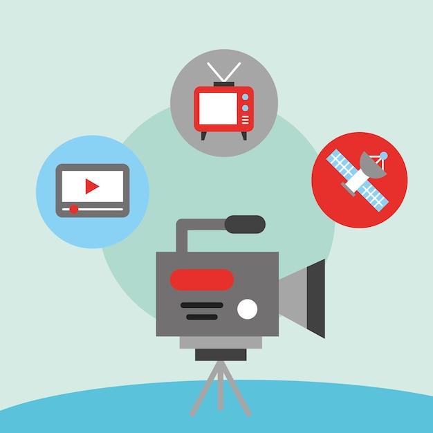 Film de caméscope de communication de nouvelles Vecteur Premium
