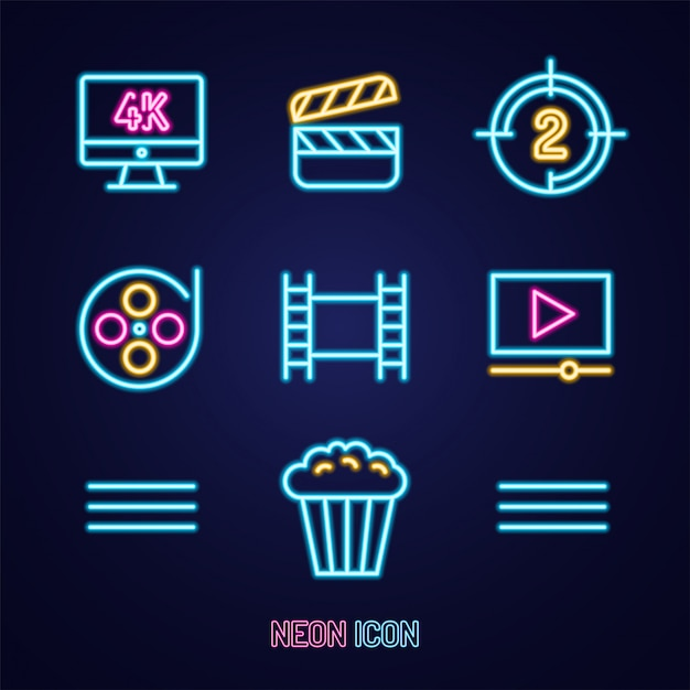 Film Ou Cinéma Situé Simple Icône Coloré Contour Néon Lumineux Sur Bleu Vecteur Premium