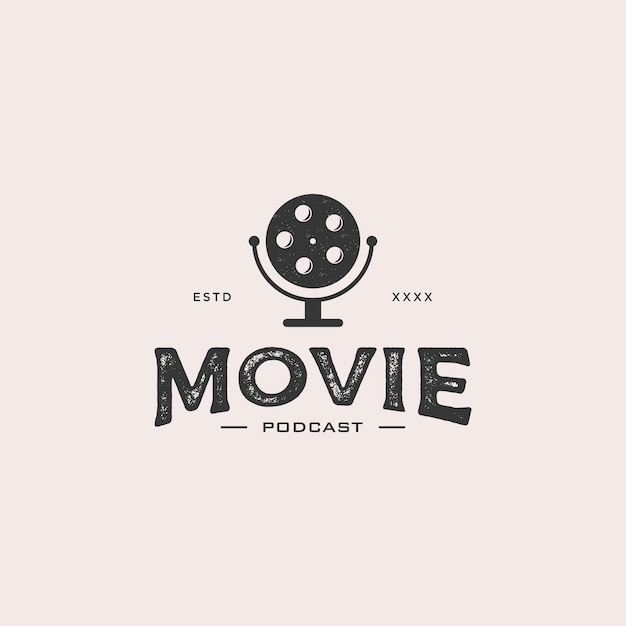 Film Podcast Logo Vecteur Premium