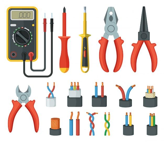 Fils de câbles électriques et différents outils électroniques. Vecteur Premium