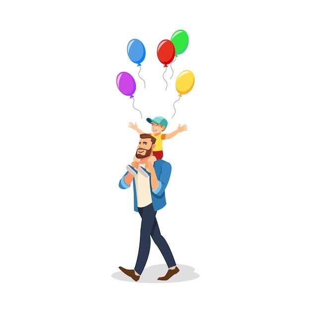 Fils, célébrer, vacances, à, papa, vecteur dessin animé Vecteur Premium