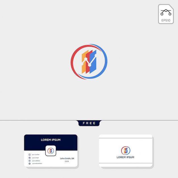 Finance chart logo template.free carte de visite Vecteur Premium