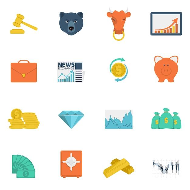 Finance échanger des icônes à plat Vecteur gratuit
