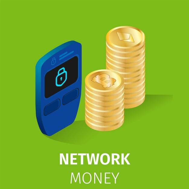 Finance Réseau Cryptomonnaie Money Square Banner Vecteur gratuit