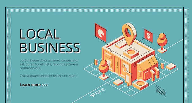 Financement de démarrage d'entreprise locale, bannière web isométrique de service de prêt, modèle de page de destination. Vecteur gratuit