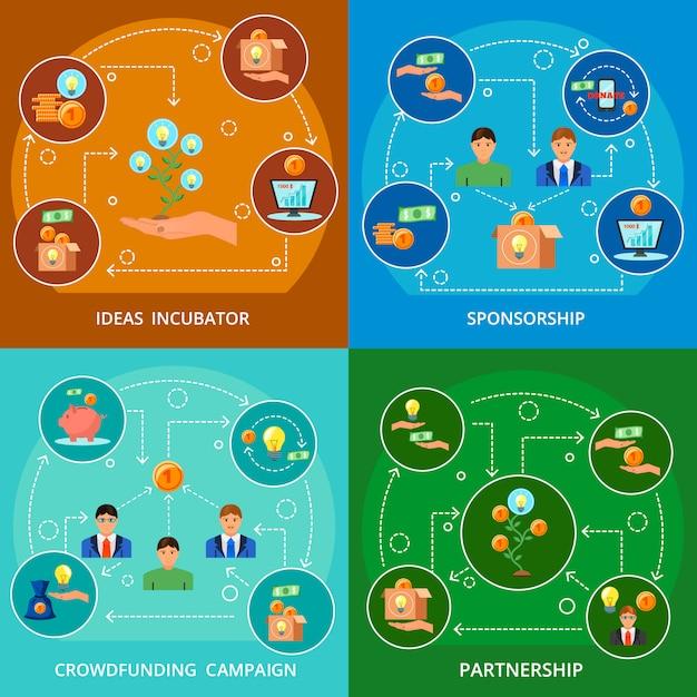 Financement Participatif Concept 4 Compositions à Plat Vecteur gratuit