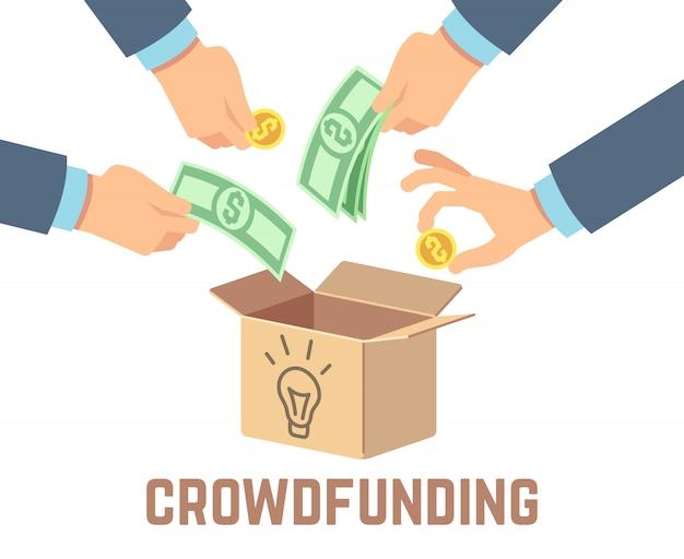 Financement Participatif. Contributions Publiques, Financement De Donateurs Et Crowdsourcing Vecteur Premium