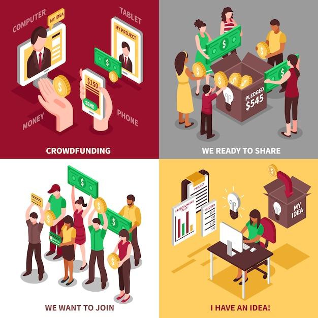 Financement participatif isométrique 2x2 Vecteur gratuit