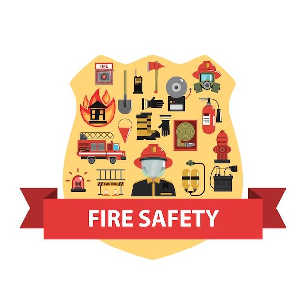 Fire concept flat Vecteur gratuit
