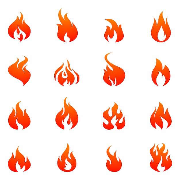 Fire flat icon set Vecteur gratuit