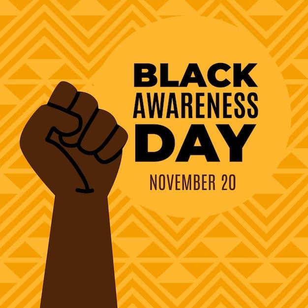 Fist In The Air Journée De Sensibilisation Aux Noirs Vecteur gratuit