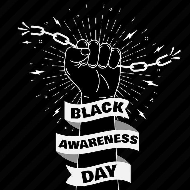 Fist Tenant Des Chaînes Journée De Sensibilisation Noire Vecteur gratuit