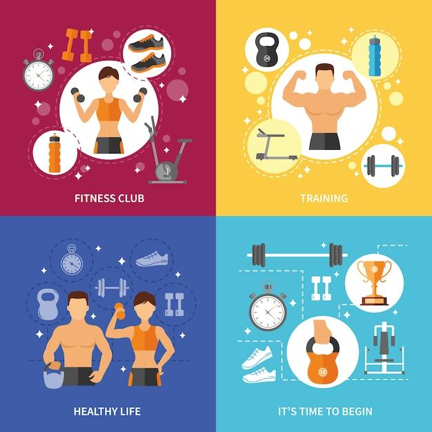 Fitness club concept de vie en bonne santé Vecteur gratuit