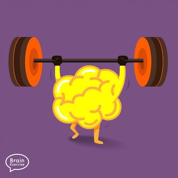 Fitness concept cerveau illustrations Vecteur Premium