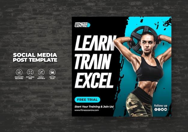 Fitness Ou Gym Social Media Banner Ou Square Excercise Sport Studio Flyer Modèle Vecteur Premium