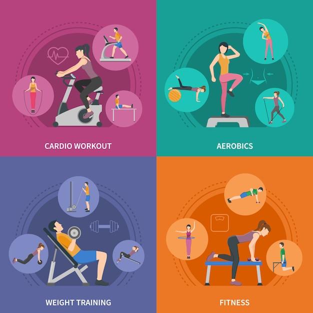 Fitness gym training personnages set Vecteur gratuit