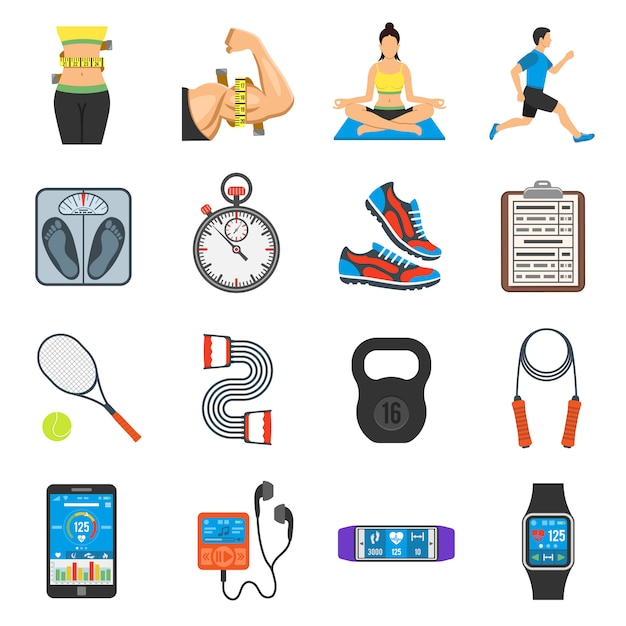 Fitness icon set Vecteur Premium