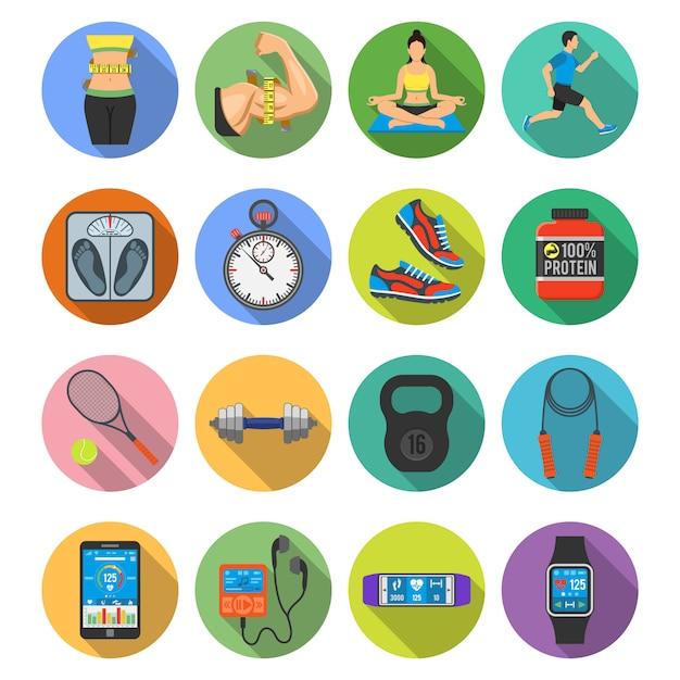 Fitness icon set Vecteur Premium