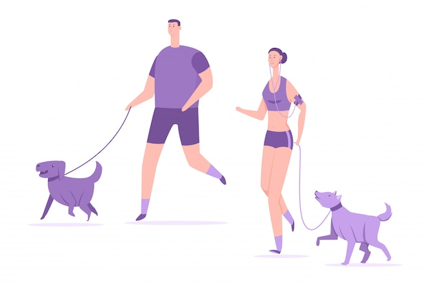 Fitness et sport avec des chiens. jeune couple courir avec animaux de compagnie vector illustration plat dessin animé isolé Vecteur Premium