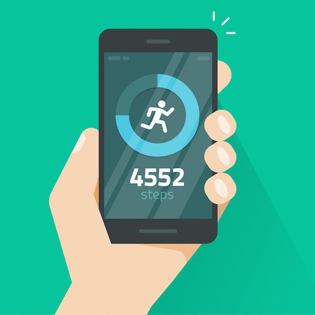 Fitness suivi app sur téléphone portable ou smartphone écran illustration vectorielle Vecteur Premium