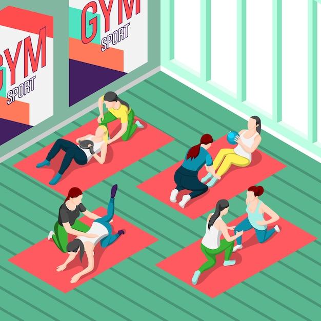 Fitness trainers isométrique Vecteur gratuit